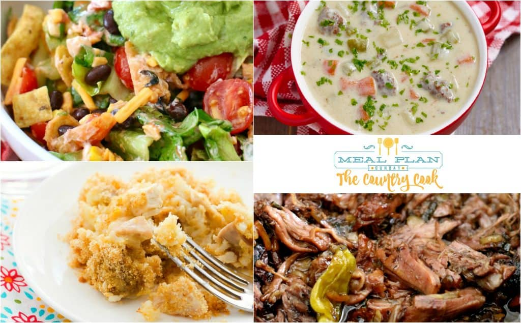 Meal Plan Sunday recipes include: Fruit Taco Salad, Chicken and Rice Casserole, Cheeseburger Soup and Mississippi Pot Roast