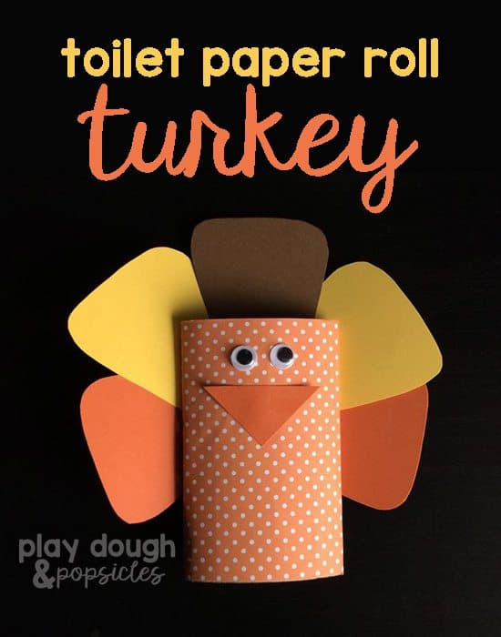 Toilet Paper Roll Turkey Craft from Playdough and Popsicles
