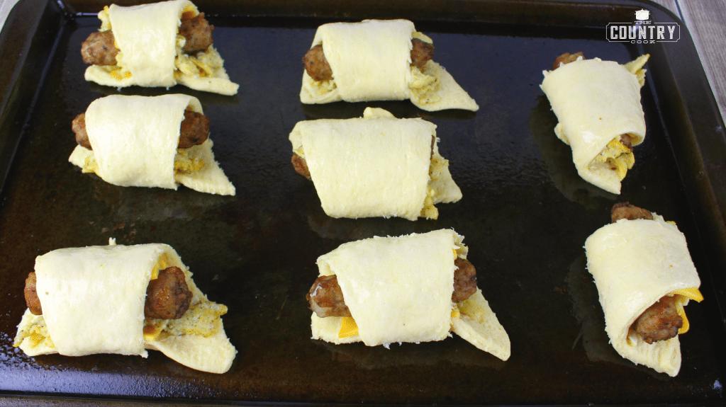 breakfast sausage rolls on baking dish