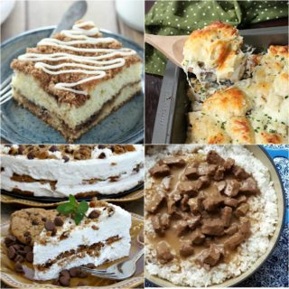 Weekend Potluck featured recipes include: Sour Cream Coffee Cake, Stewed Beef Tips and Rice, Chicken Alfredo Bubble Up and French Onion Sliders