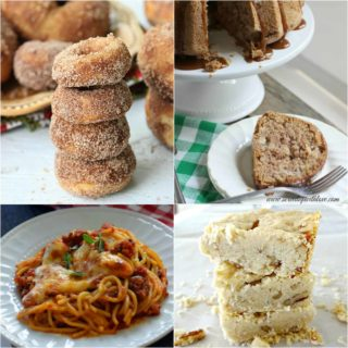 Weekend Potluck featured recipes include: Baked Apple Cider Doughnuts, Caramel Apple Cake, Ultimate Baked Spaghetti and Pecan Shortbread Bars