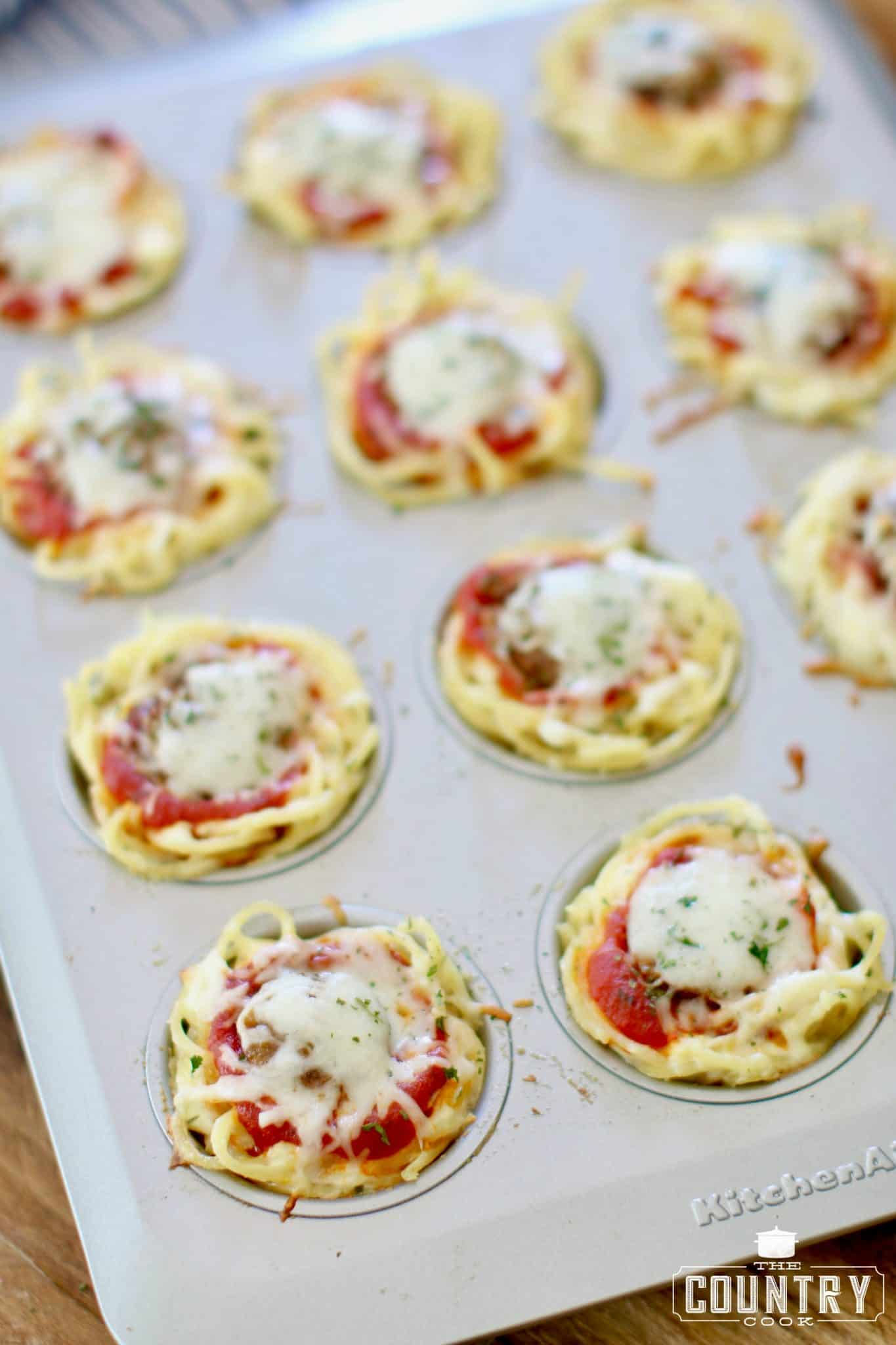 finished, spaghetti and sausage muffins still in muffin pan (before serving)