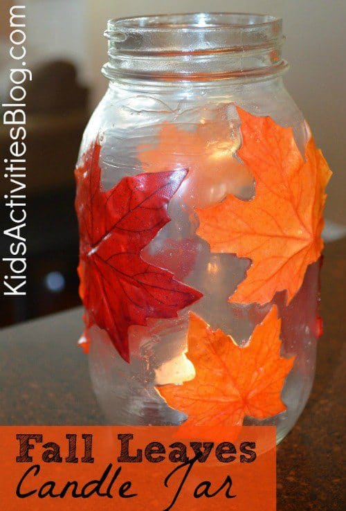Fall Leaves Candle Jar from Kids Activities Blog