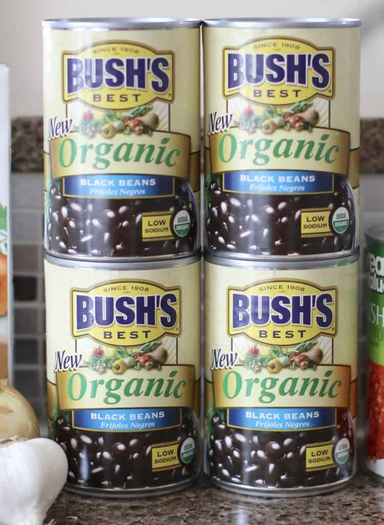 4 cans of BUSH'S Organic Black Beans