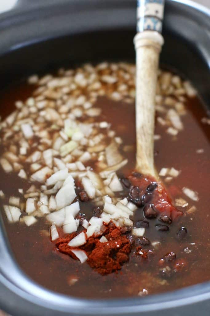 ingredients for black bean chili in crock pot, vegetarian