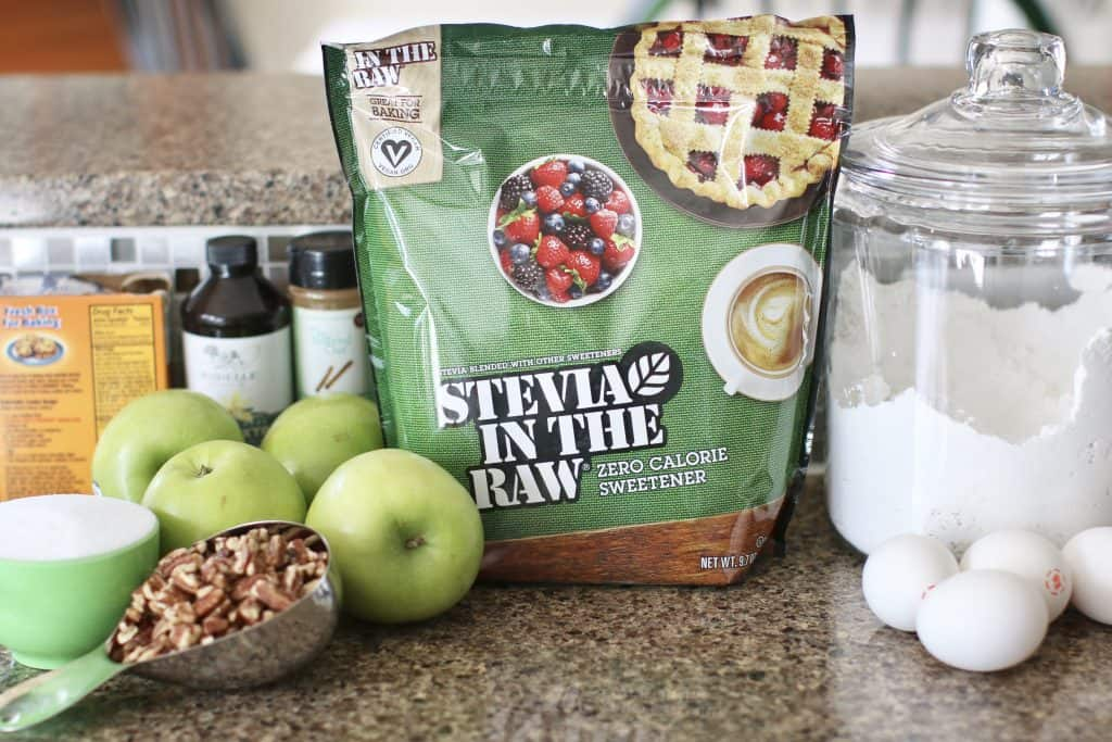 Stevia in the raw, granny smith apples, pecans, cinnamon, sugar, flour, vanilla