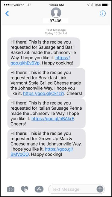 Johnsonville Sausage Support Center Text