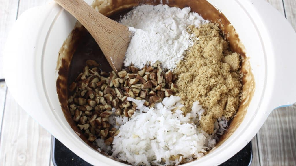coconut, chopped pecans, flour, brown sugar