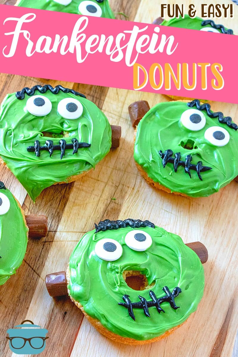 Frankenstein Donuts are a fun halloween treat for kids and adults alike. Use cake mix or homemade doughnut batter or even store bought doughnuts!