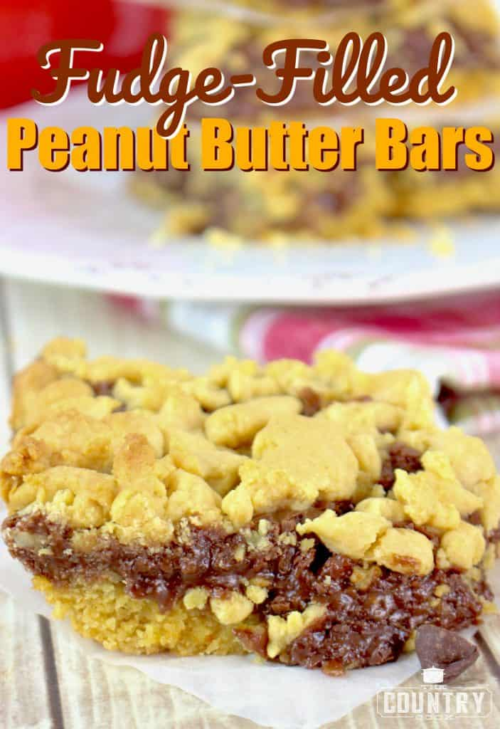 Fudge-Filled Peanut Butter Bars recipe from The Country Cook