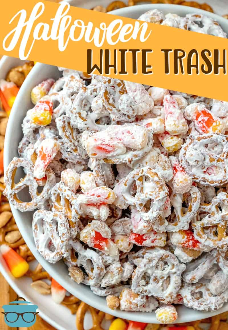 Halloween White Trash mix is a no-bake salty and sweet dessert. A mixture of peanuts, pretzels, candy corn and white chocolate vanilla melts. #Halloween #partymix