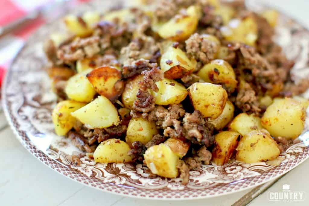 Hamburger Hash with roasted potatoes and seasoned ground beef