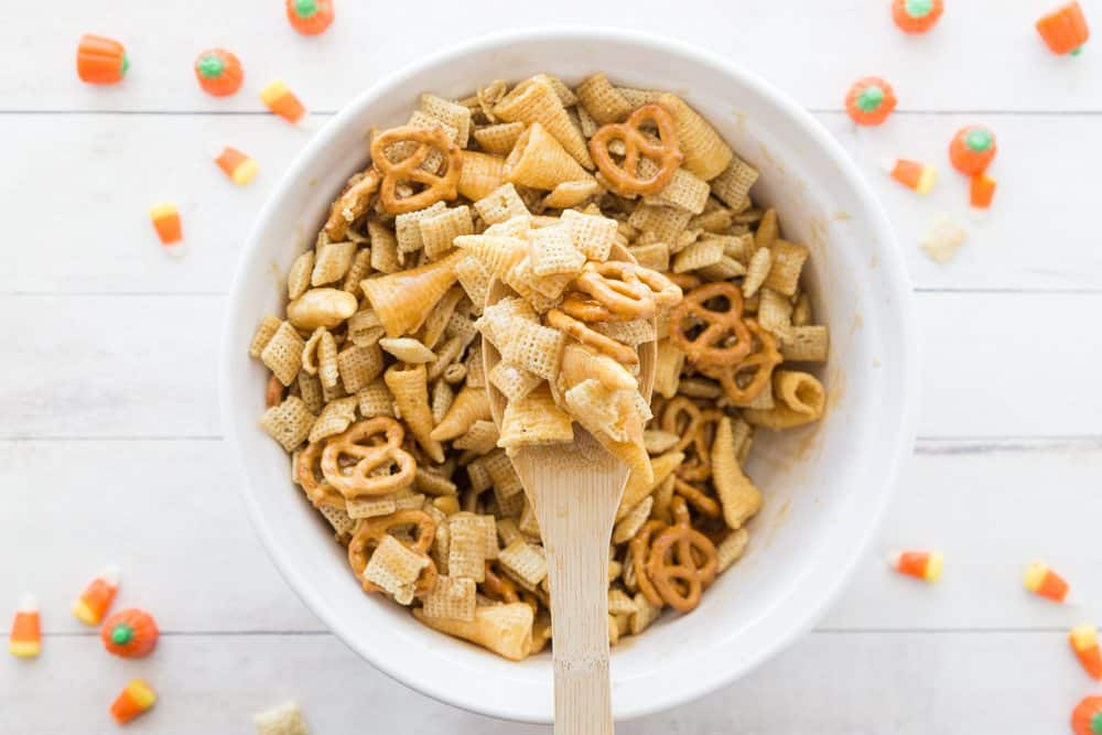 sweet brown sugar sauce on chex mix
