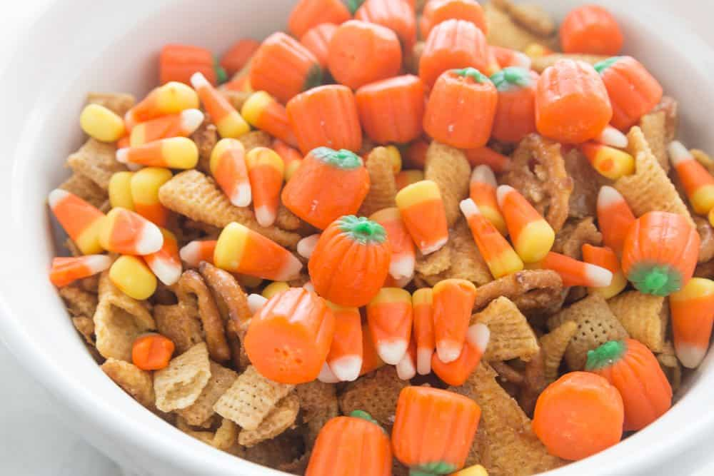 candy corn, fall chex mix