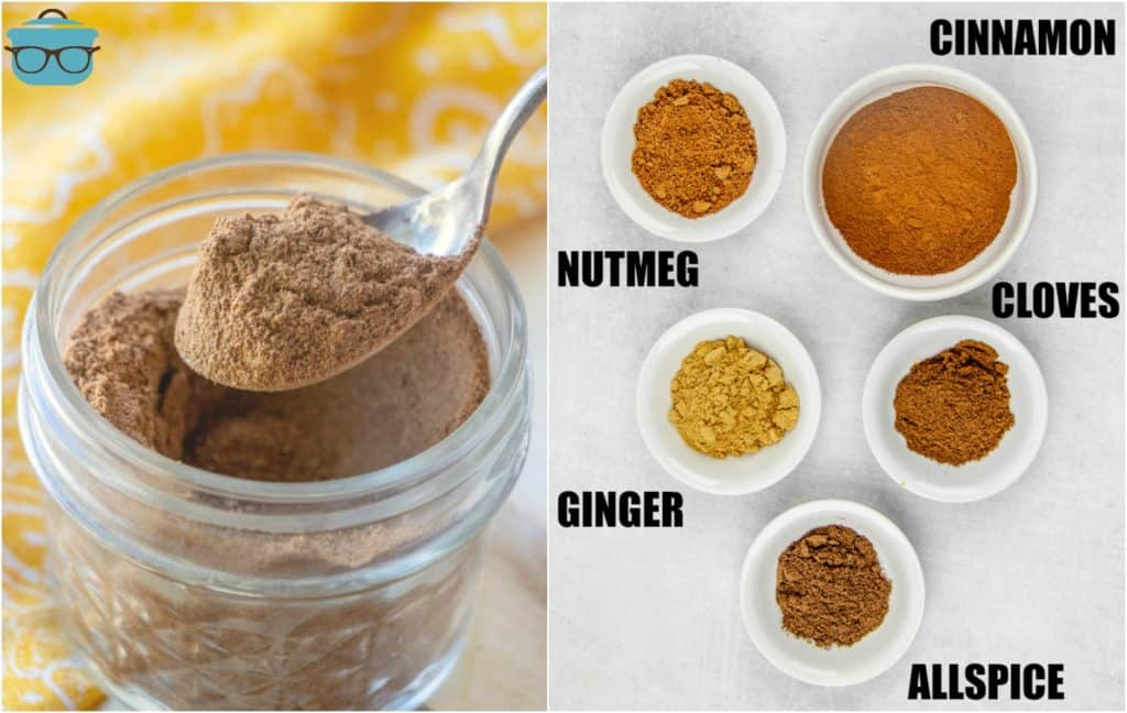 Homemade Pumpkin Pie Spice in a mason jar and a list of ingredients