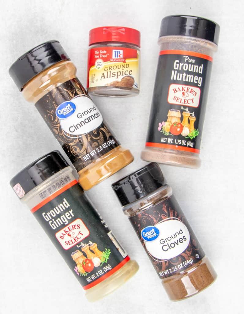 ground cinnamon, ground ginger, ground nutmeg, ground allspice, ground cloves