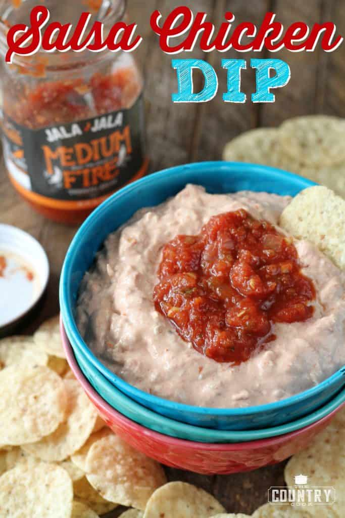 Salsa Chicken Dip appetizer recipe from The Country Cook