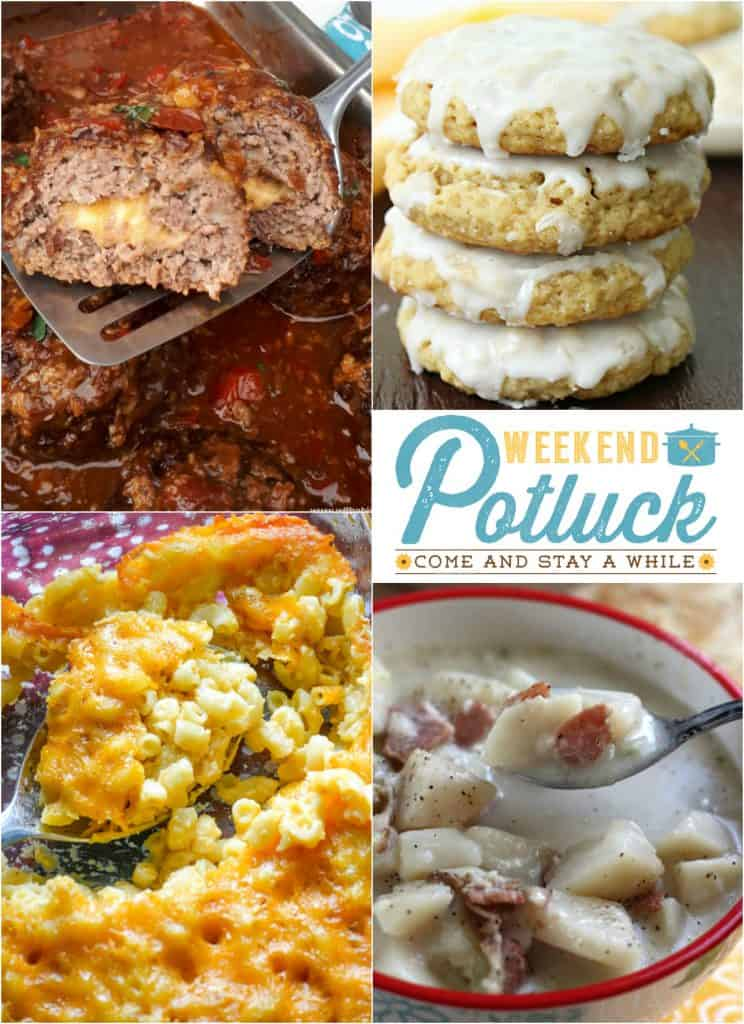 Weekend Potluck 296 featured recipes include: Mountain Meatballs, Southern Homestyle Mac and Cheese, Iced Oatmeal Cookies and Crock Pot Potato Soup