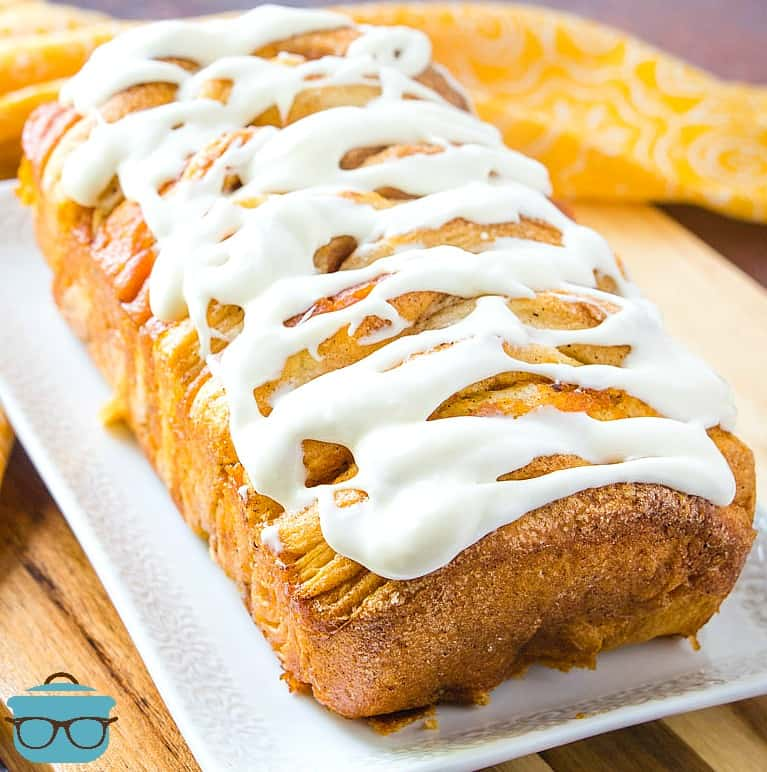 finished, Pumpkin Pull-Apart Bread with cream cheese icing