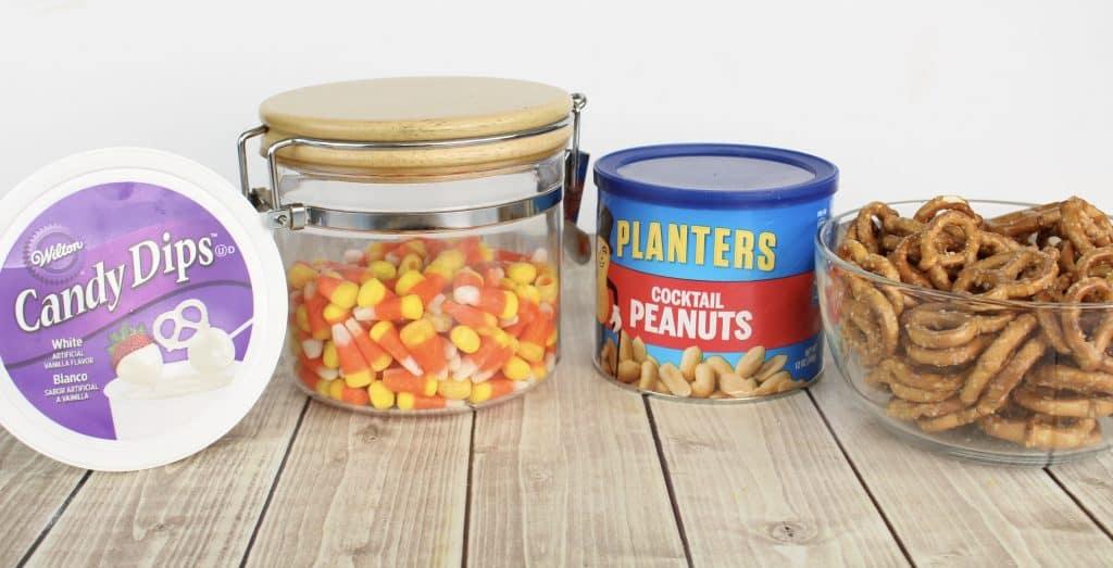 peanuts, candy corn, candy melts, pretzels