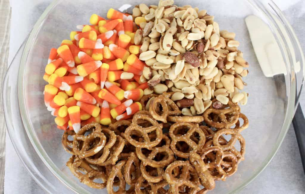 peanuts, candy corn, pretzels, white candy melts