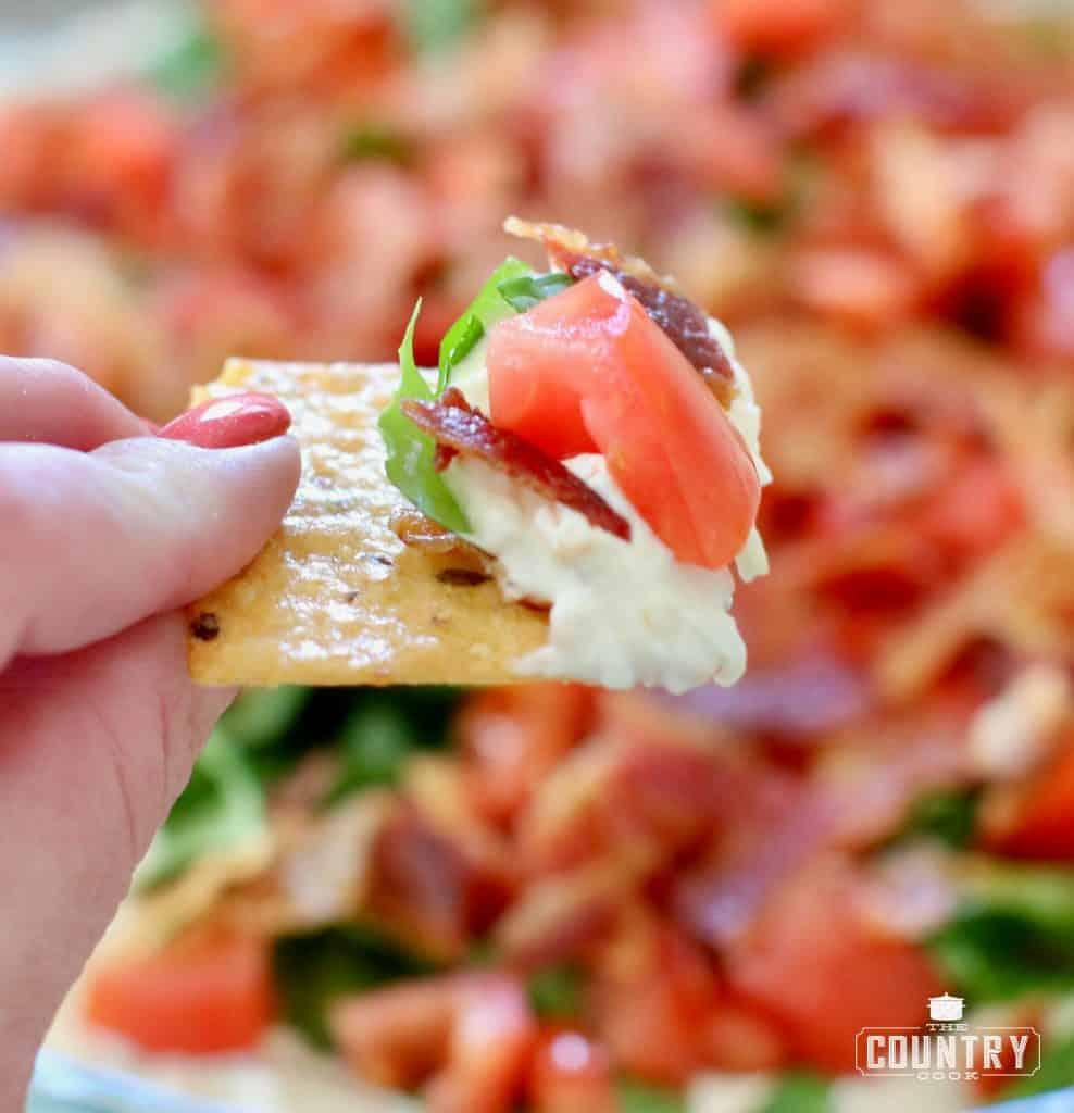 BLT Dip, closeup with cracker