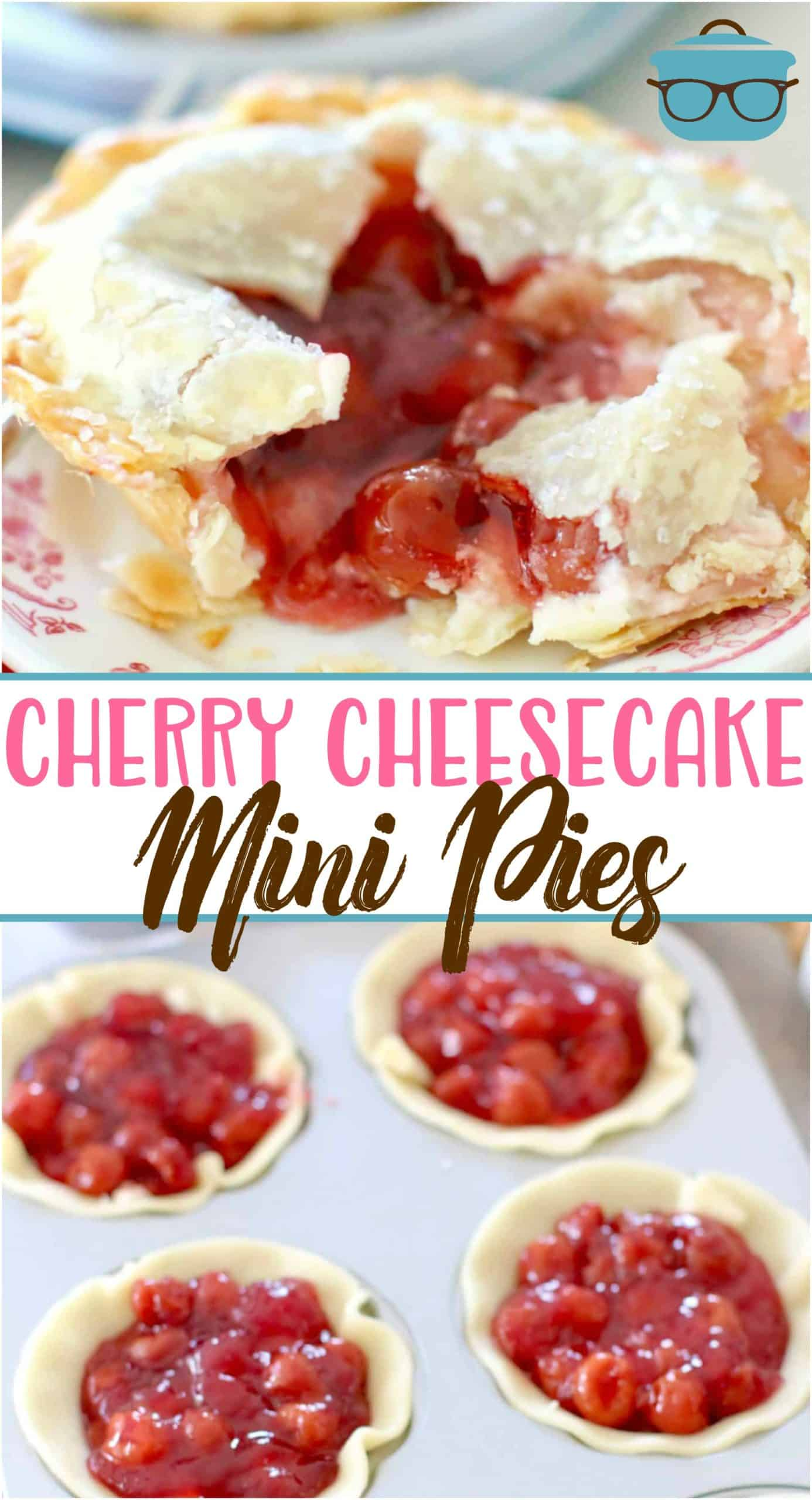 Mini Cherry Cheesecake Pies are an easy and giftable treat! Refrigerated pie crusts, cherry pie filling and an easy, creamy cheesecake center!