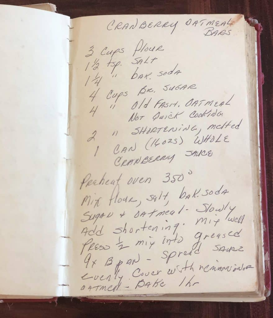 Grandma Betty's Cranberry Oatmeal Bars, handwritten recipe