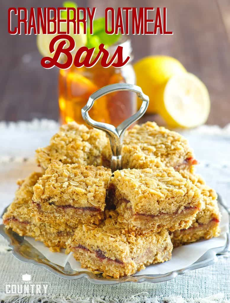 Cranberry Oatmeal Bars recipe from The Country Cook #ad #reddiamondtea #dessert #cranberry #cookieexchange #ideas