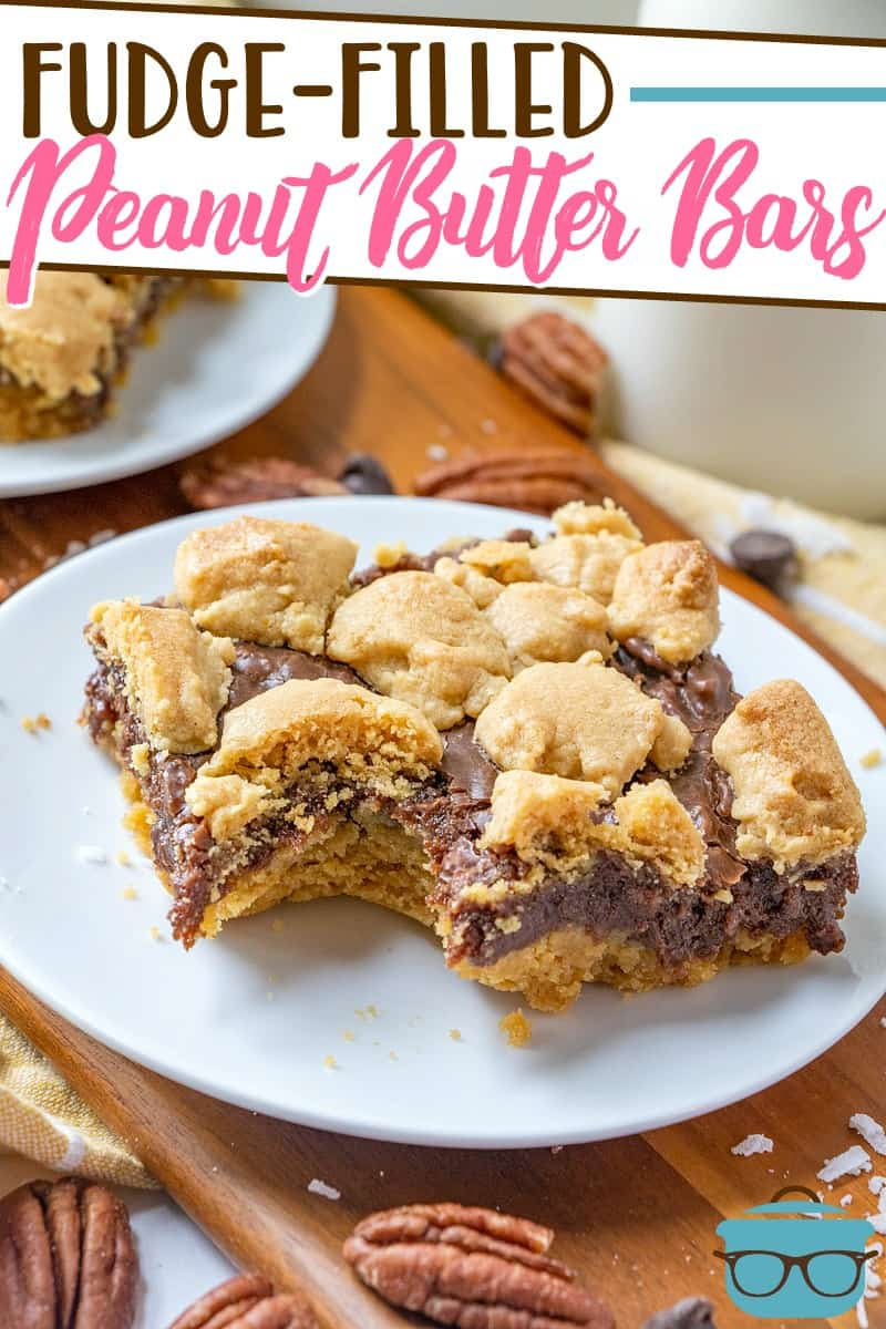 These Fudge-Filled Peanut Butter Bars start with a boxed cake mix with added peanut butter and an amazing homemade fudge filling!