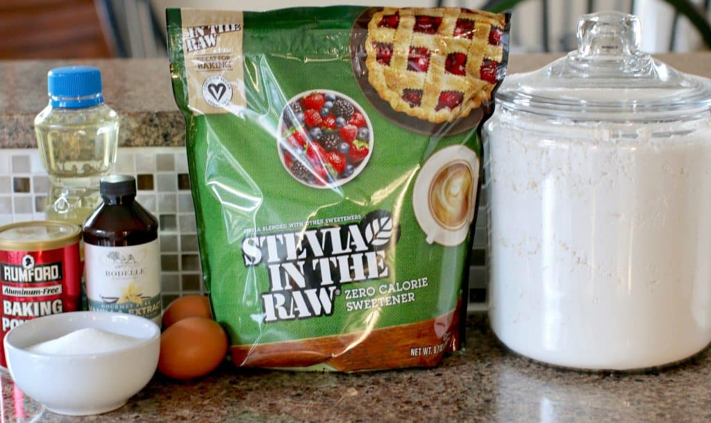 Stevia in the Raw, sugar, eggs, flour, vanilla, baking powder