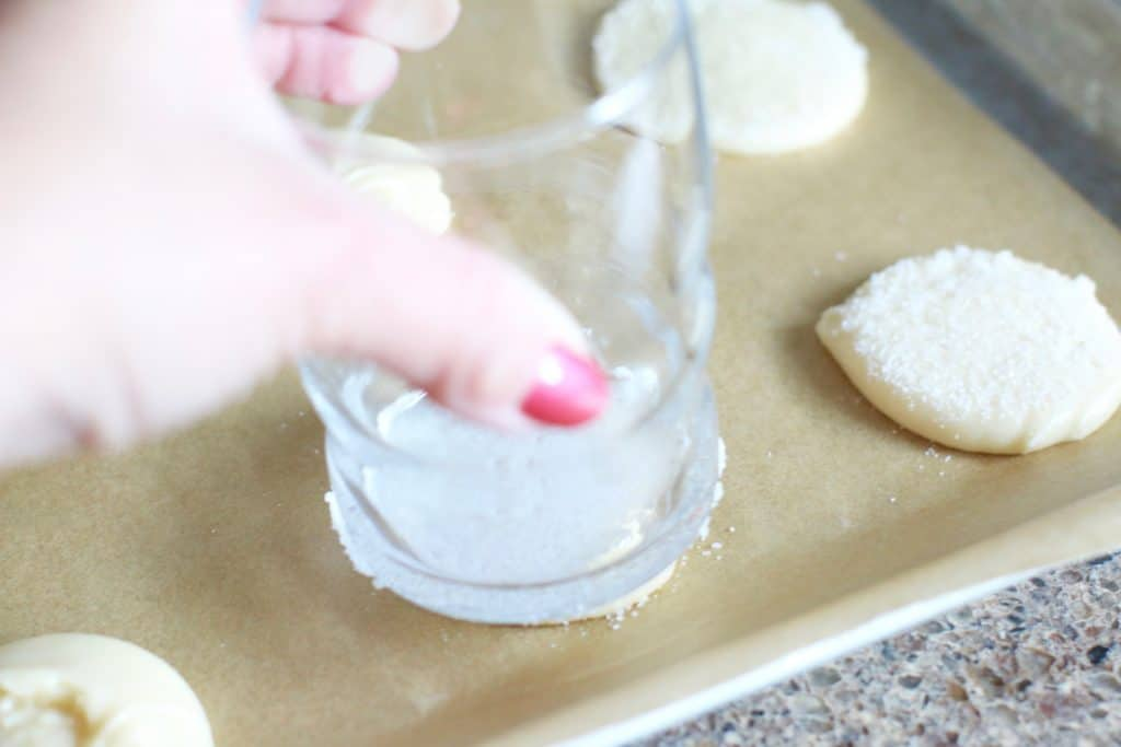 gently press sugar onto cookie dough