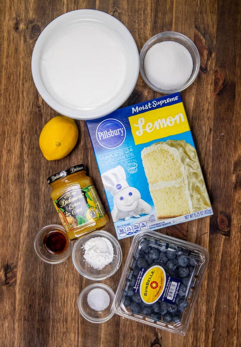 lemon cake mix, blueberries, lemon, sugar, corn starch, salt, vanilla extract, lemon curd, whipped topping.