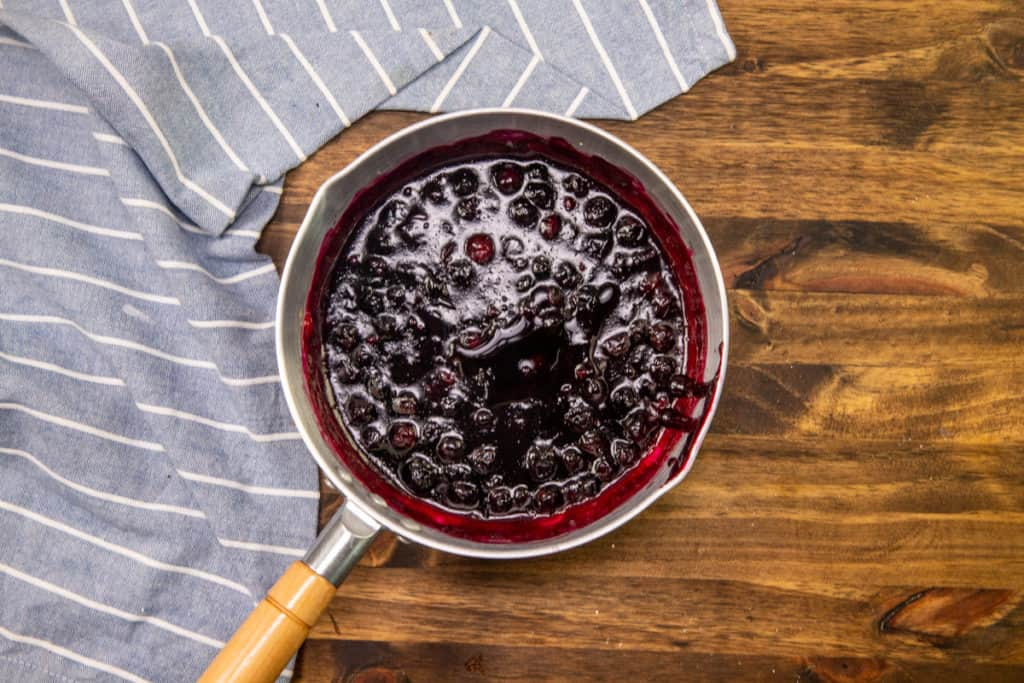 blueberry lemon sauce in a sauce pan