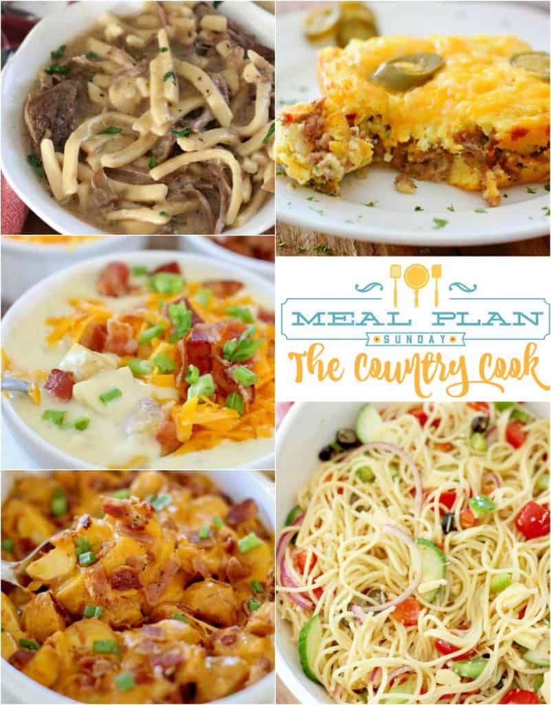 Meal Plan Sunday recipes: Beefy Cornbread Casserole, Cheddar Bacon Ranch Potato Soup, Spaghetti Salad, Crock Pot Beef and Noodles and more!