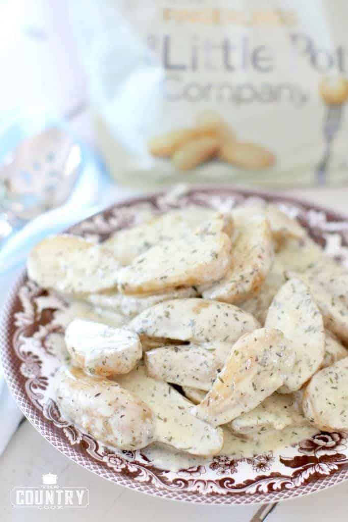 slow cooker creamy fingerling potatoes