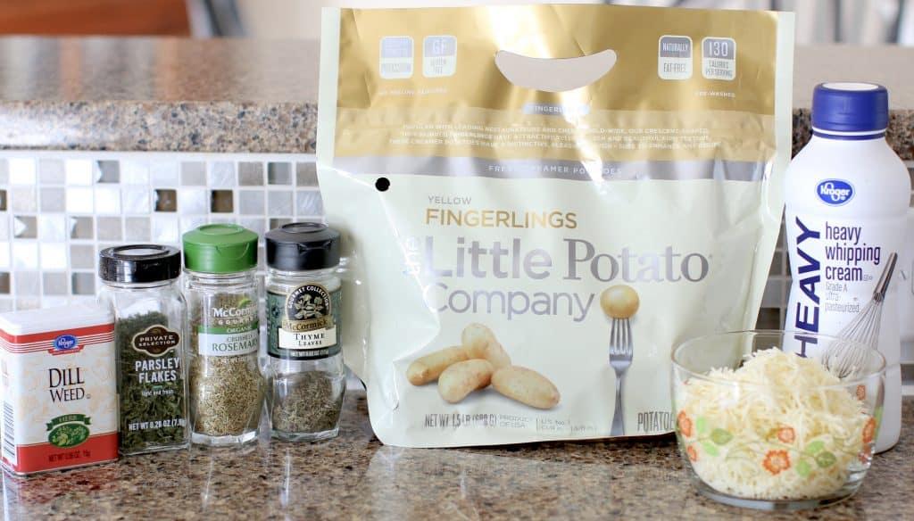 baby potatoes, heavy cream, dill, parmesan, rosemary, thyme, parsley