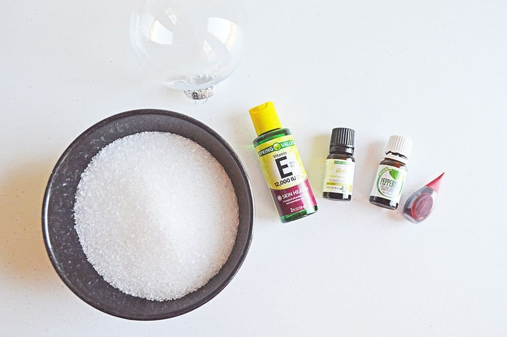 clear ornament, epsom salt, peppermint oil, Vitamin E