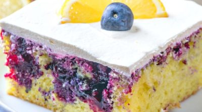 Lemon Blueberry Poke Cake