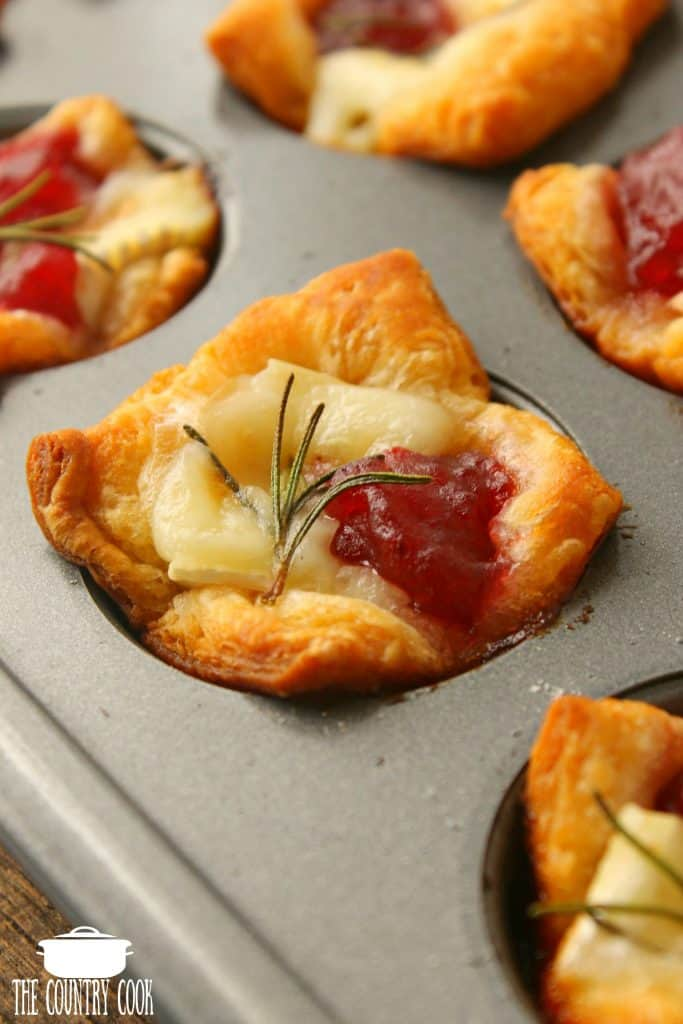 Crescent Roll Cranberry Brie Bites with rosemary