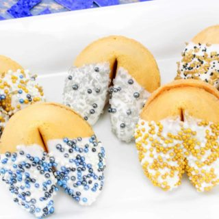 white chocolate dipped fortune cookies for New Years Eve party