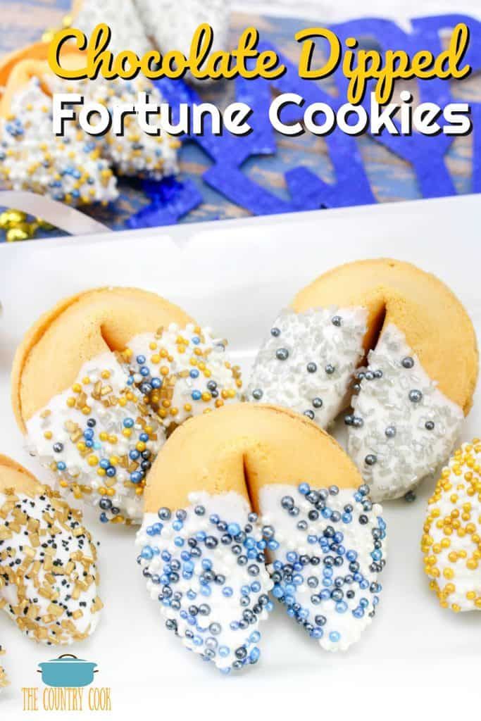 Chocolate Dipped Fortune Cookies recipe from The Country Cook