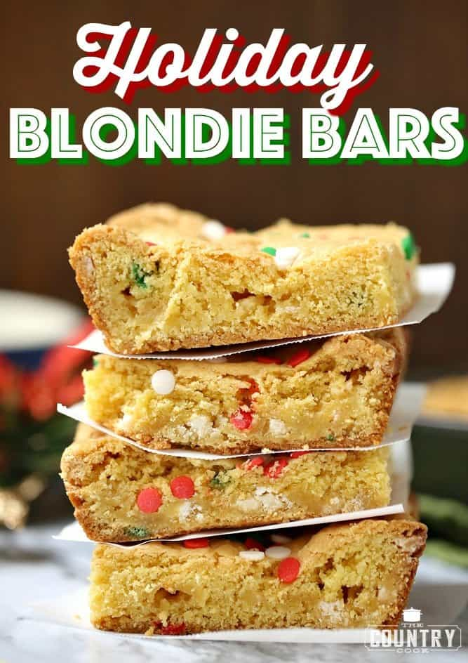 Holiday Blondie Bars recipe from The Country Cook