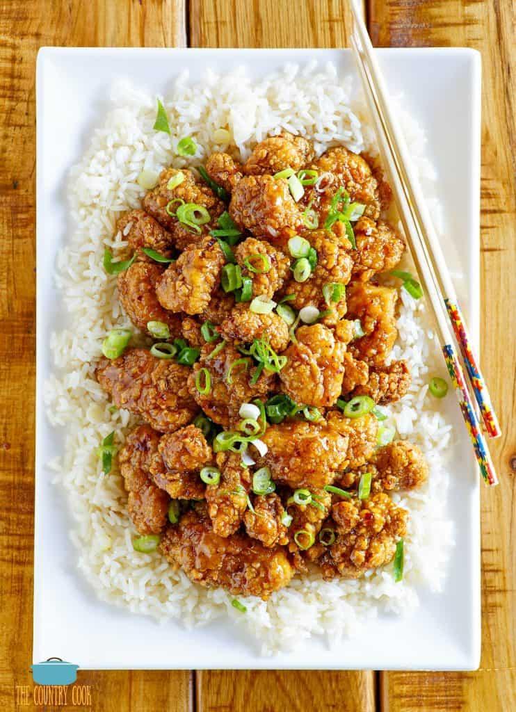 Honey Garlic Glazed Asian Popcorn Chicken
