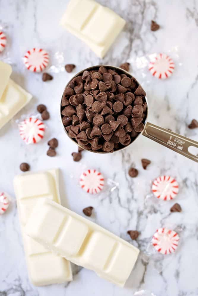 Vanilla Almond Bark, Milk Chocolate Chips, crushed peppermint, vanilla extract