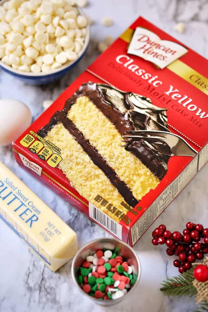 cake mix, butter, white chocolate, sprinkles
