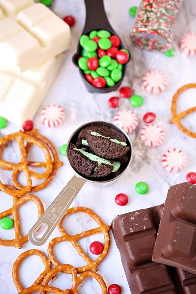 Vanilla Almond Bark, Chocolate Almond Bark, Mint Oreos, Pretzels, M& M's sprinkles