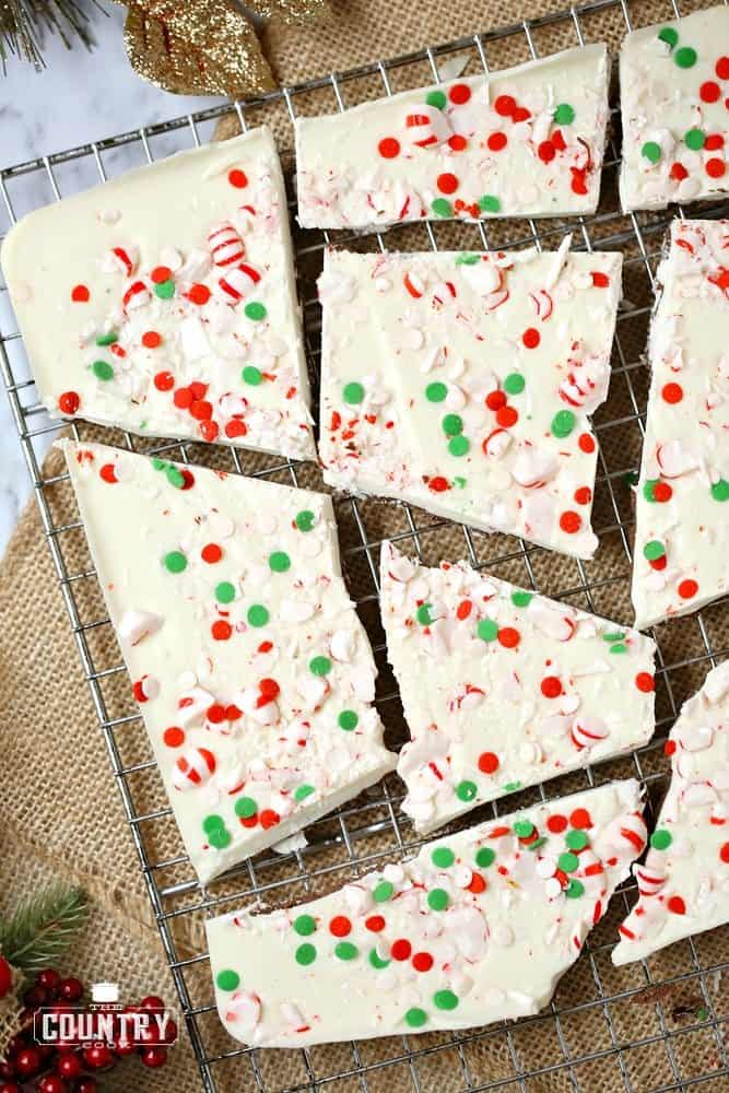 Peppermint Bark, cut up