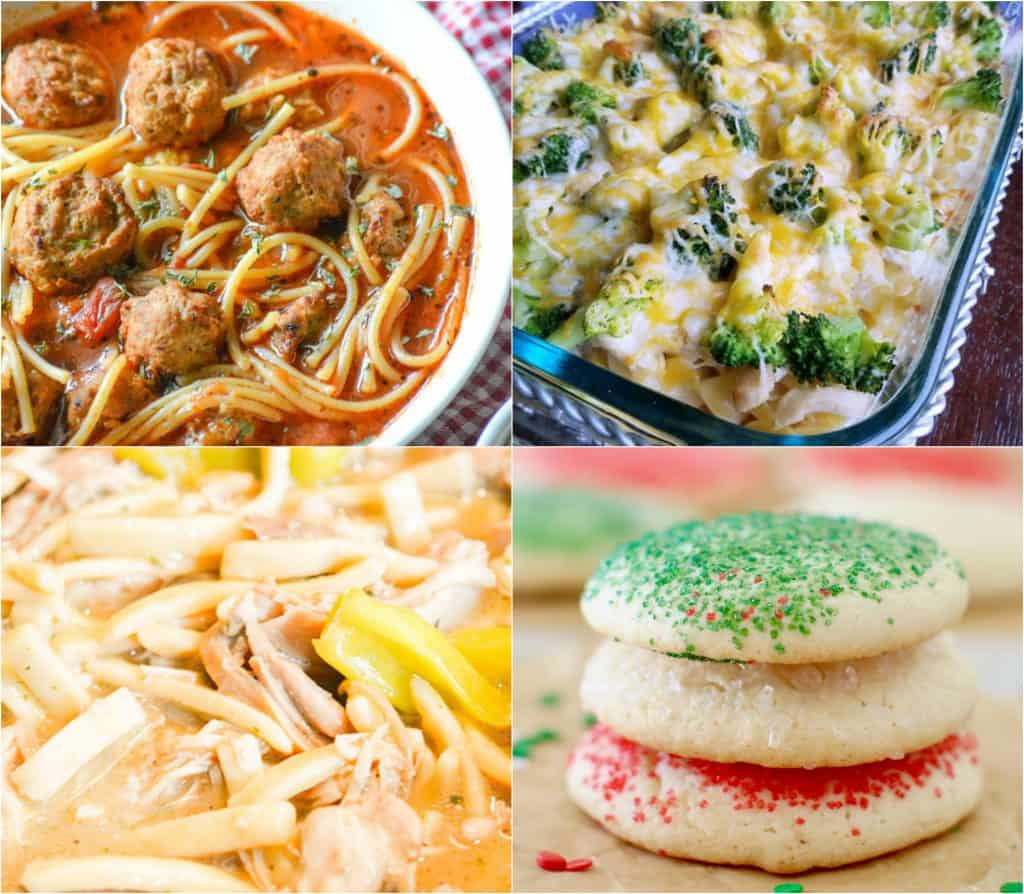 Chicken and Broccoli Casserole, Spaghetti and Meatballs Soup, Crock Pot Mississippi Chicken Noodles, Grandma's Soft Sugar Cookies
