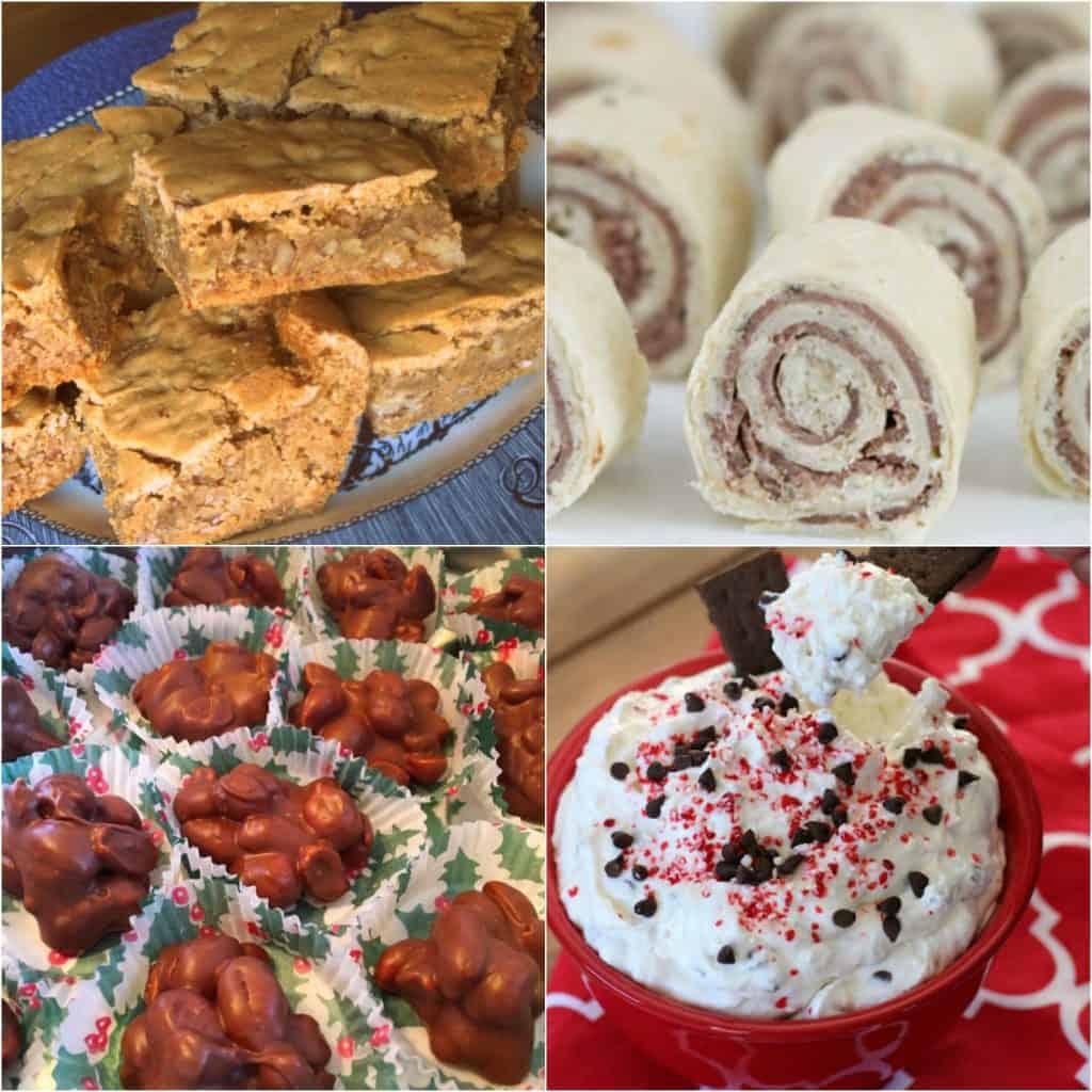 Southern Pecan Chewies, Roast Beef Roll Ups, Crock Pot Peanut Clusters, Peppermint Mocha Dip, Weekend Potluck
